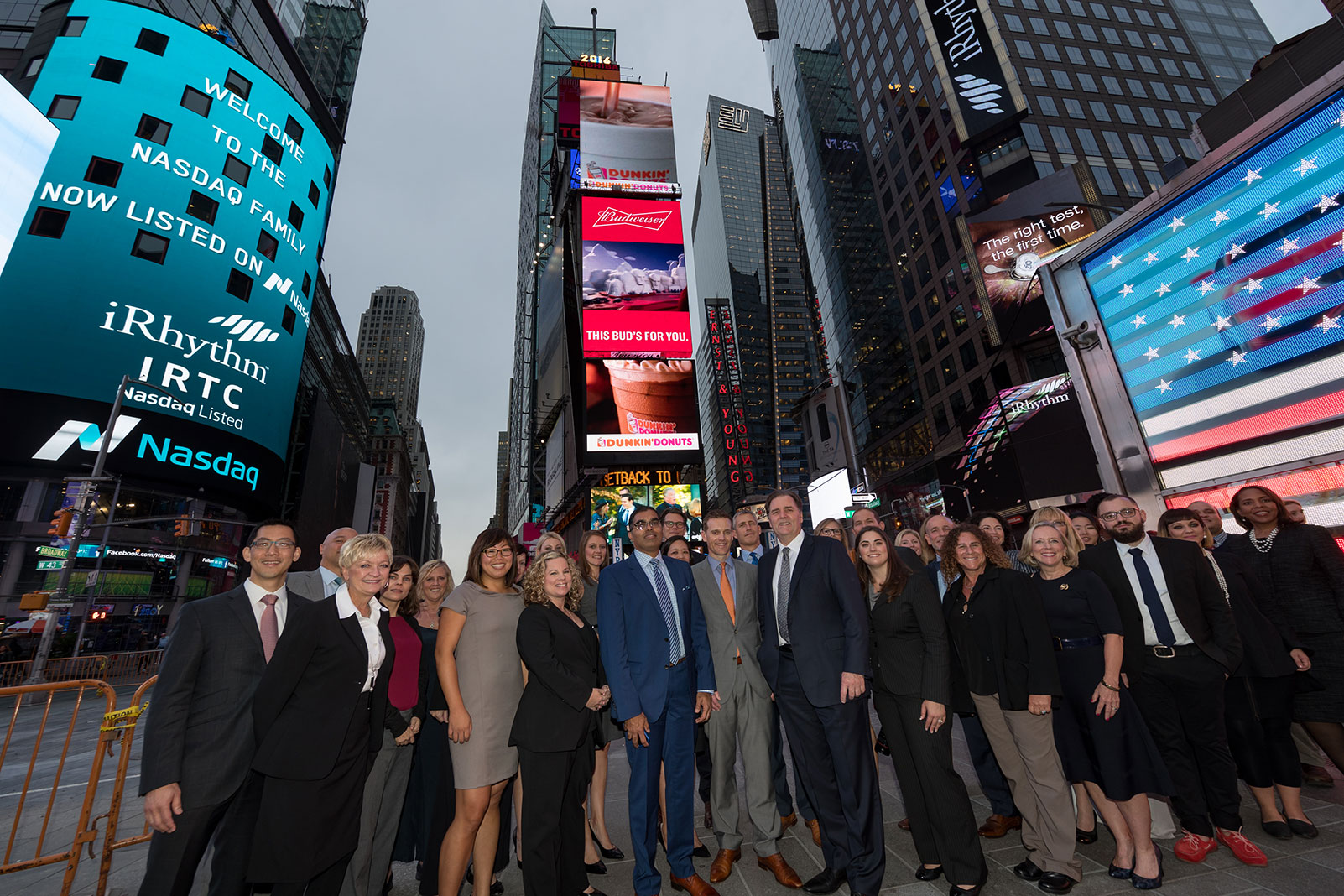 The iRhythm team celebrating its 2016 IPO in Times Square.